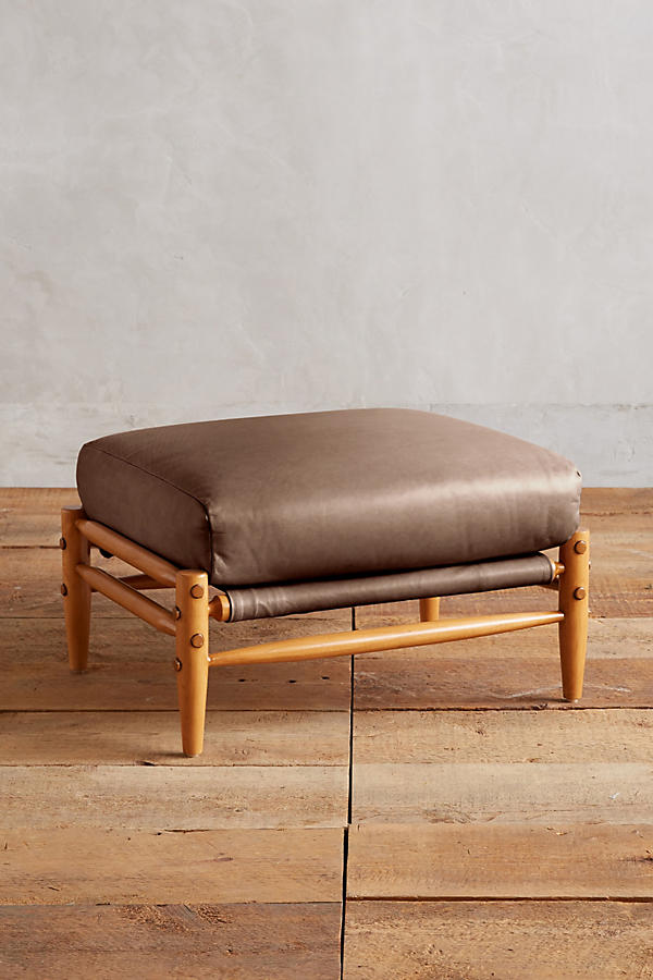 Slide View: 1: Leather Rhys Ottoman