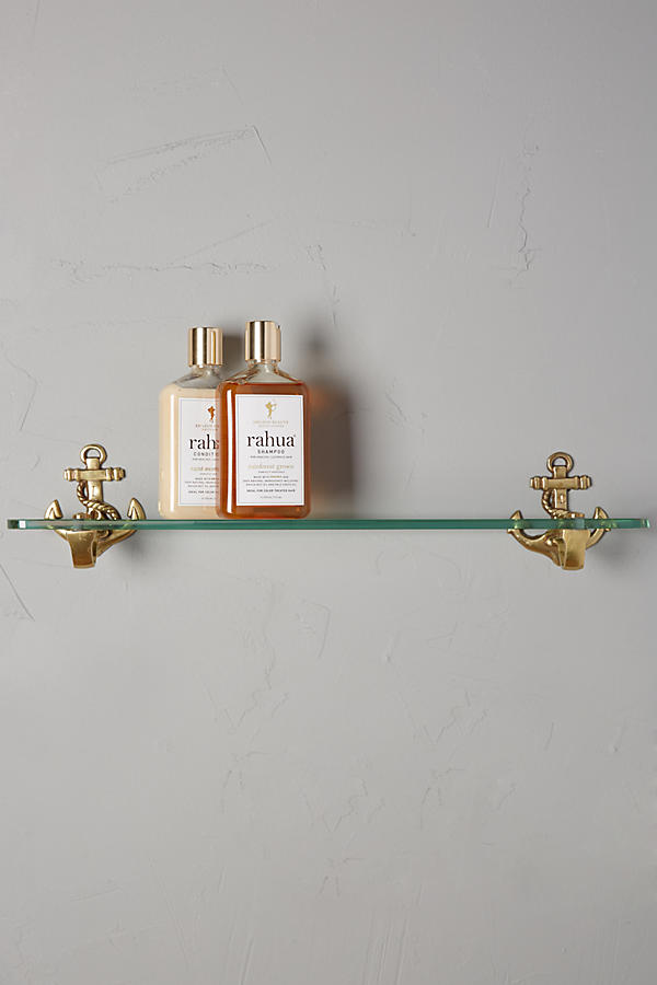 Brass Anchor Glass Shelf