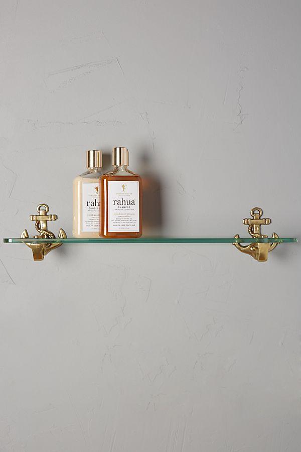 Brass Anchor Glass Shelf | Anthropologie