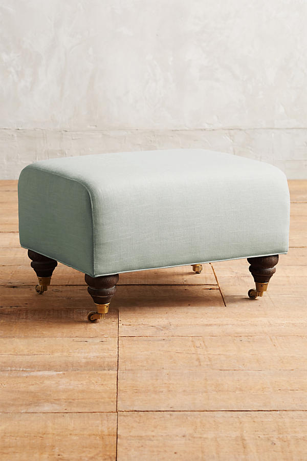 Belgian Linen Willoughby Ottoman, Hickory