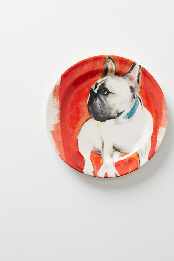 Dog-a-Day Dessert Plate - Red Motif, Size Salad