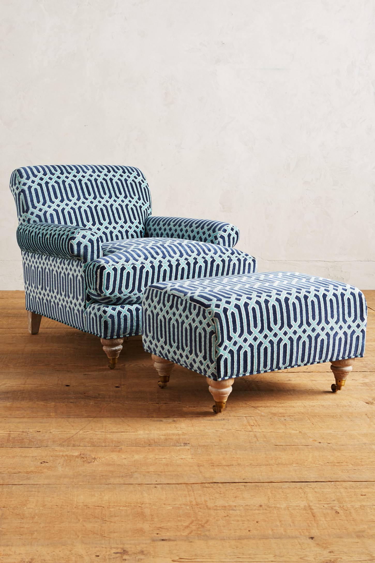 Slide View: 2: Trellis-Woven Willoughby Ottoman
