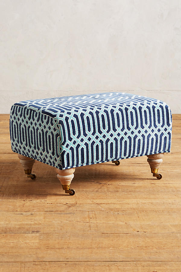 Slide View: 1: Trellis-Woven Willoughby Ottoman