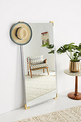 Slide View: 3: Standing Brass-Capped Mirror