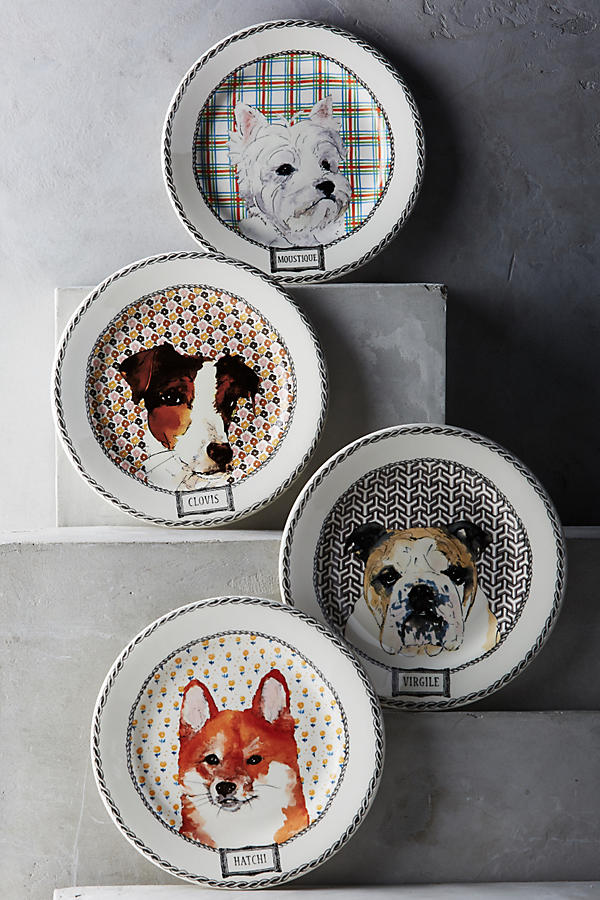 Slide View: 1: Gien Darling Dog Dessert Plate Set