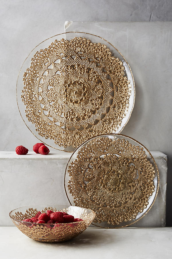Slide View: 2: Metallic Lace Dessert Plate