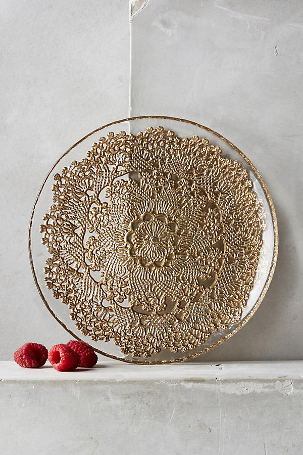 Slide View: 1: Metallic Lace Dessert Plate