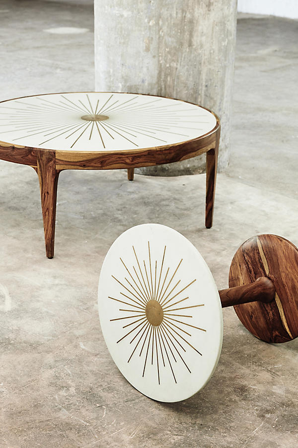 Slide View: 5: Brass Starburst Round Coffee Table