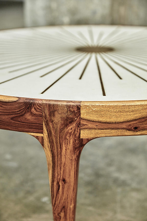 Slide View: 7: Brass Starburst Round Coffee Table