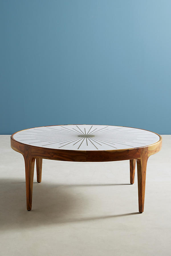Slide View: 2: Brass Starburst Round Coffee Table