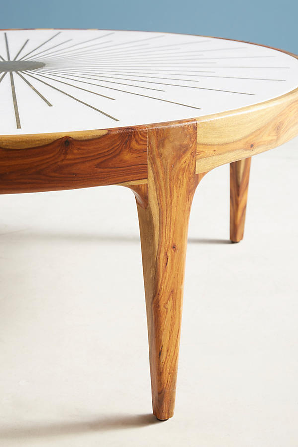 Slide View: 8: Brass Starburst Round Coffee Table