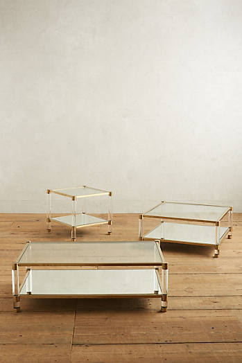Slide View: 3: Oscarine Lucite Mirrored Coffee Table, Rectangle