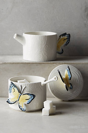Butterfly Forest Stacking Sugar Pot & Creamer