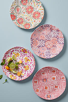Slide View: 1: Tula Melamine Dinner Plate Set