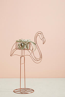 Slide View: 1: Wired Flamingo Plant Stand
