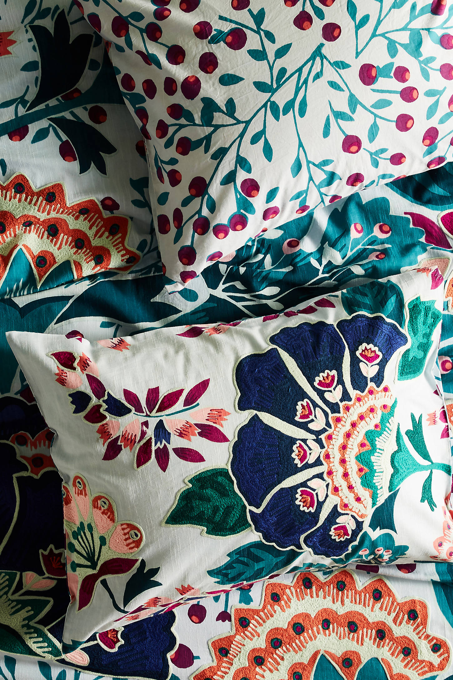 Liberty for Anthropologie Embroidered Feather Bloom Shams