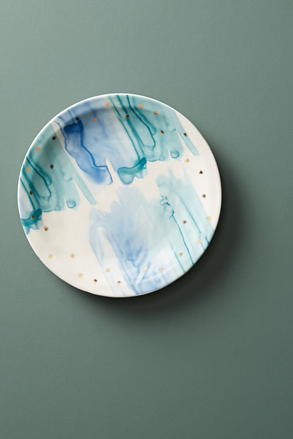 Night Sky Dessert Plate - Blue Motif, Size Salad