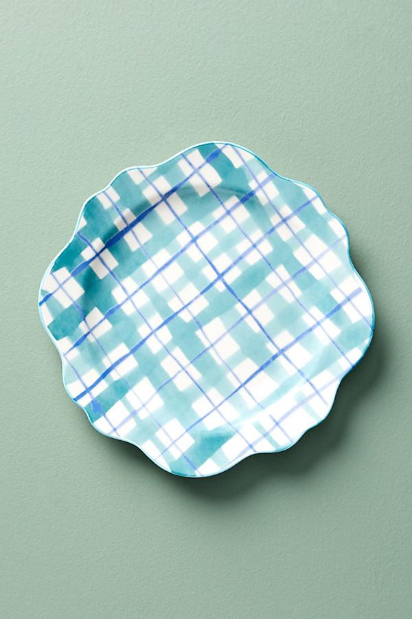 Hilde Plaid Side Plate - Blue Motif, Size Salad