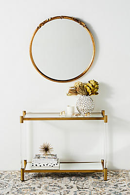 Slide View: 1: Oscarine Lucite Mirrored Console Table