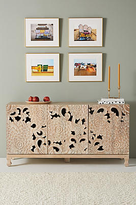 Slide View: 1: Handcarved Lotus Sideboard