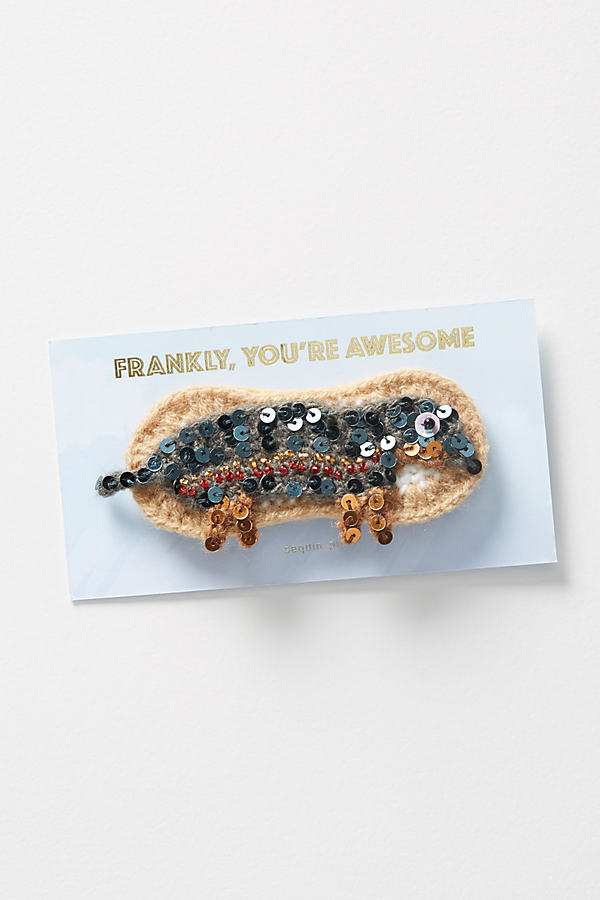 Hand-Crocheted Sequinned Hot Dog Pin - Brown