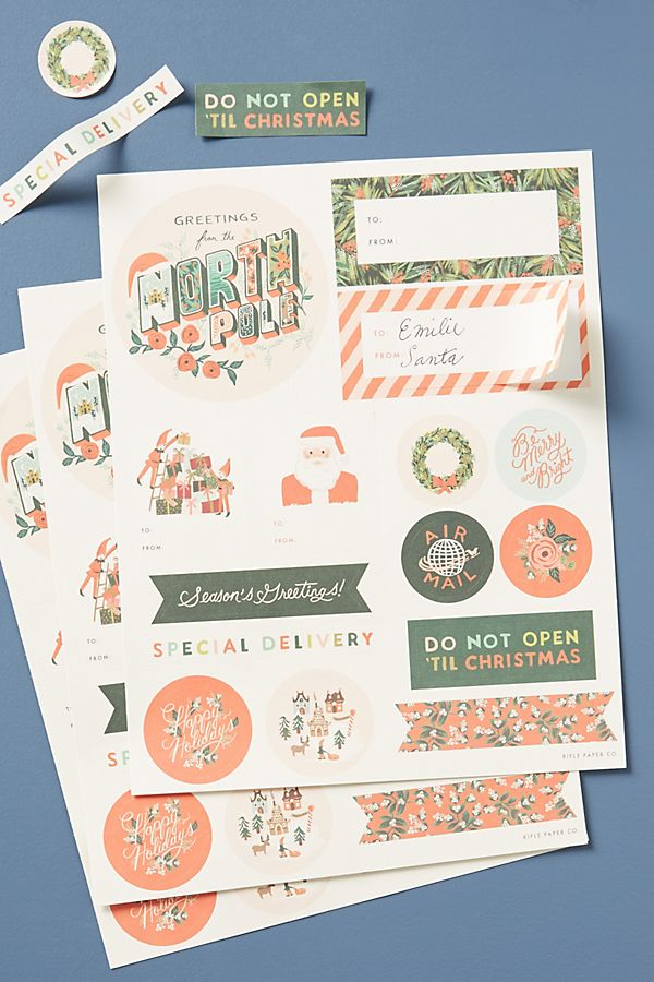 Rifle Paper Co. Holiday Sticker Labels | Anthropologie