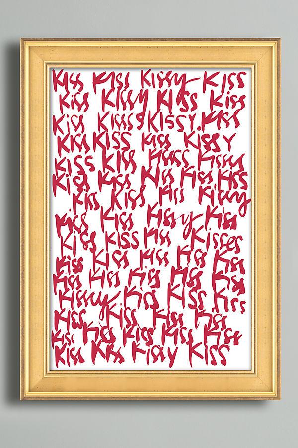 Crimson Kiss Wall Art - Gold