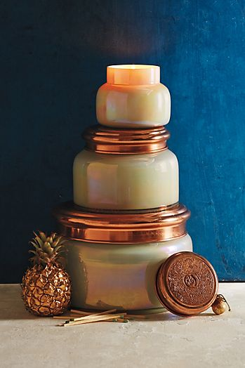Giant Capri Blue Mercury Glass Candle | Anthropologie
