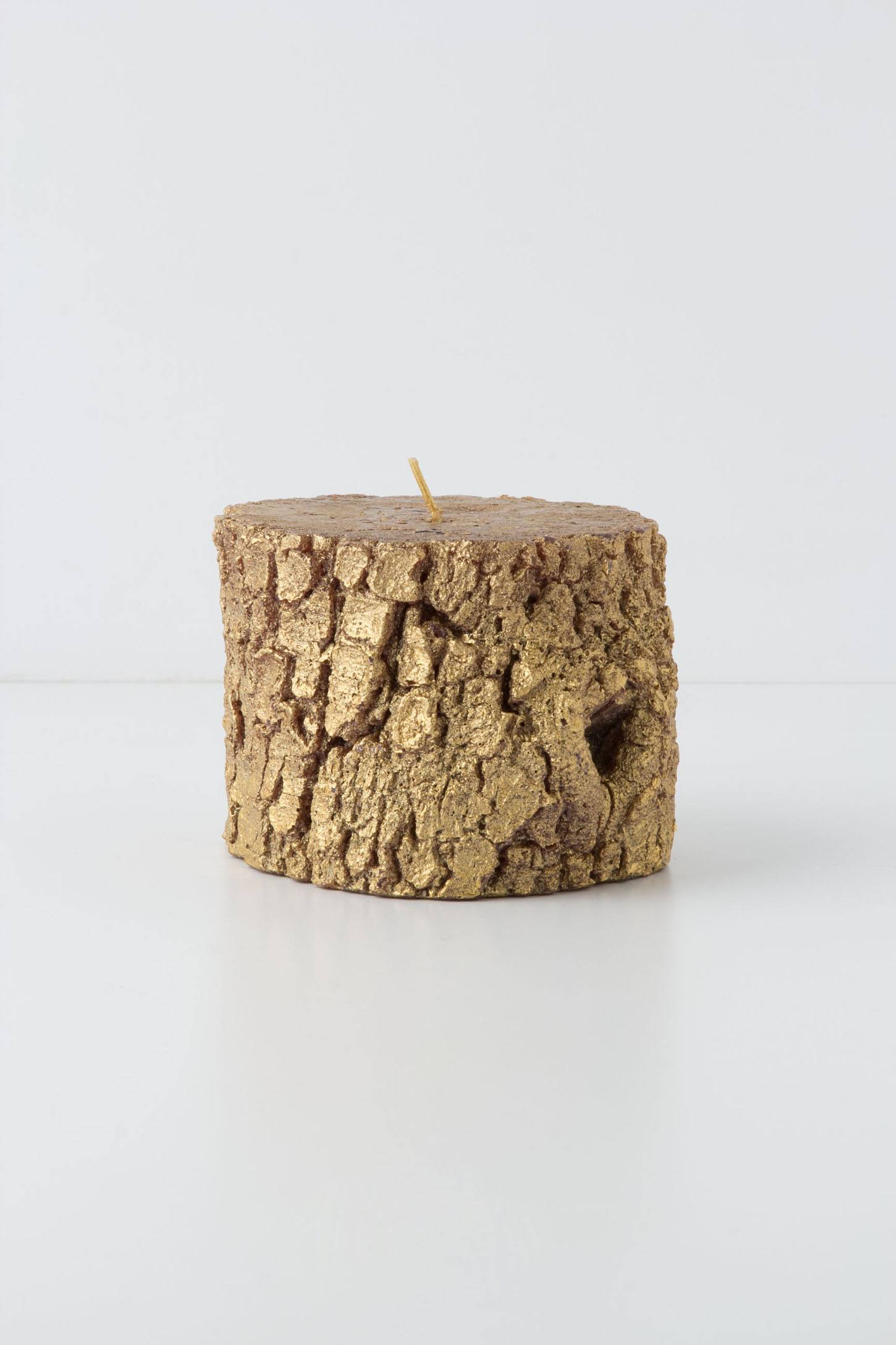 Short Golden Pine Candle