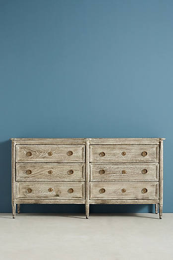 Slide View: 2: Washed Wood Six-Drawer Dresser