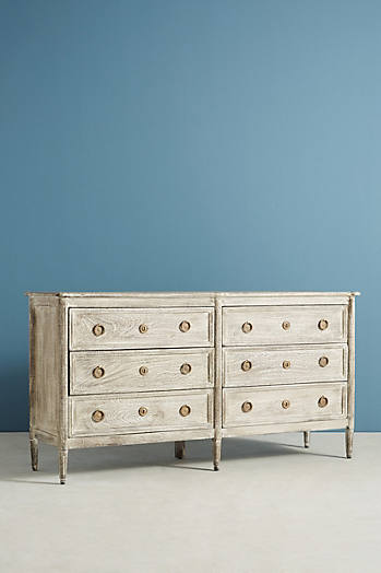 Slide View: 3: Washed Wood Six-Drawer Dresser