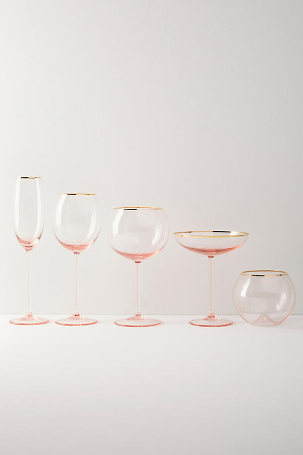 Slide View: 2: Gilded Rim White Wine Glass