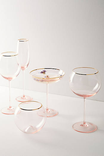 Slide View: 3: Gilded Rim White Wine Glass