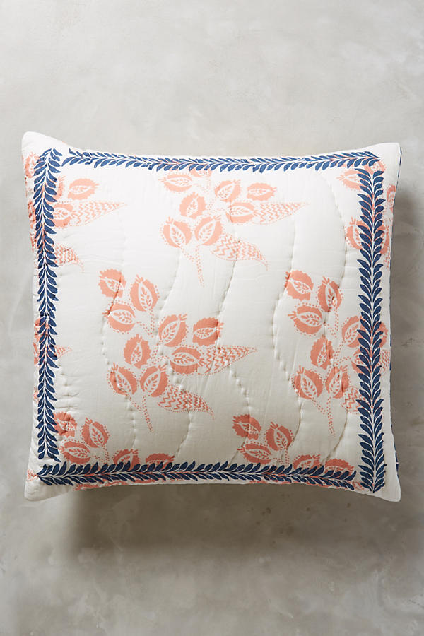 Slide View: 1: Woodblock Floral Euro Sham