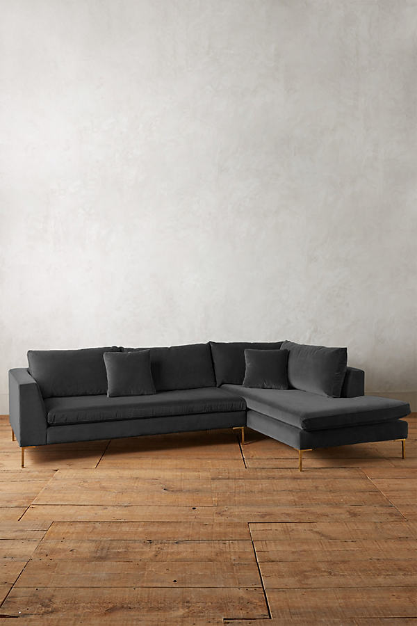 Velvet Edlyn Right Sectional - Dark Grey