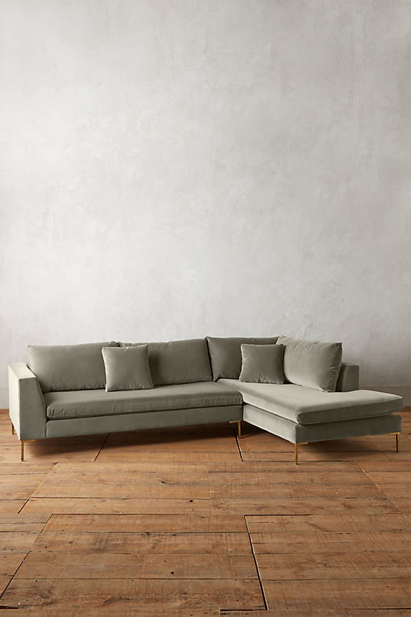 Velvet Edlyn Right Sectional - Light Grey