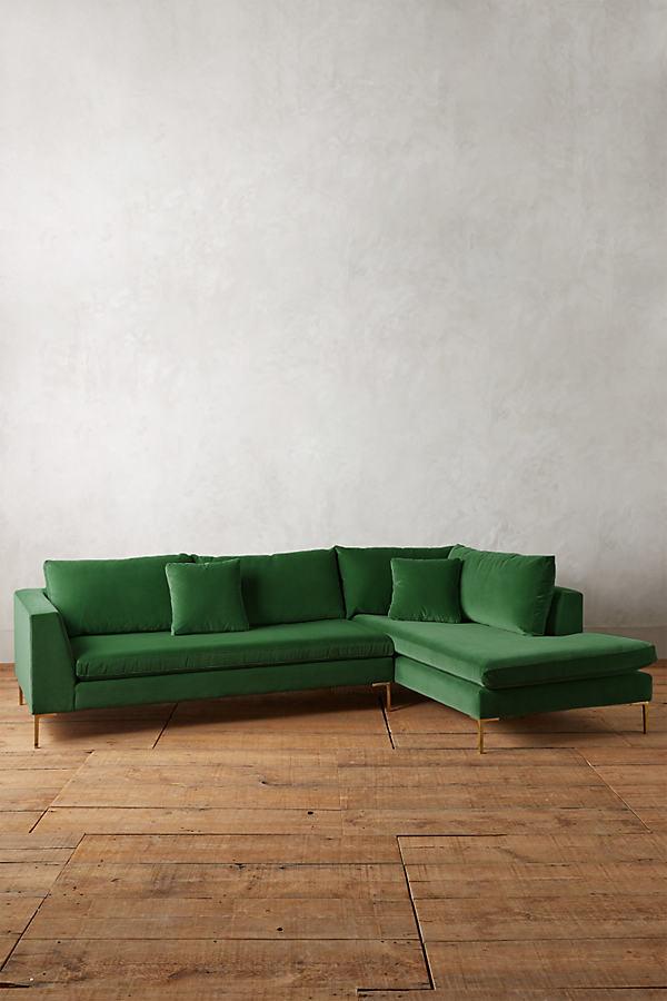 Velvet Edlyn Right Sectional - Green