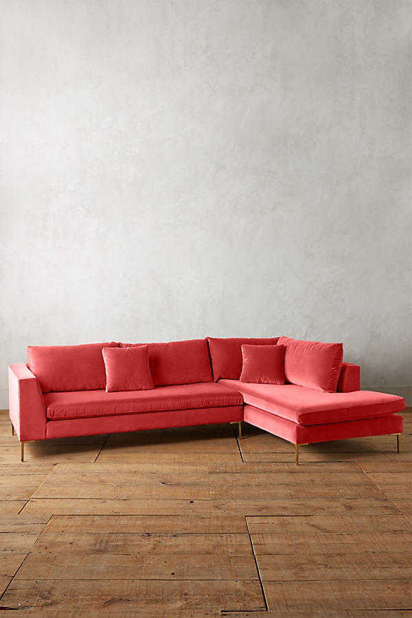 Velvet Edlyn Right Sectional - Medium Pink