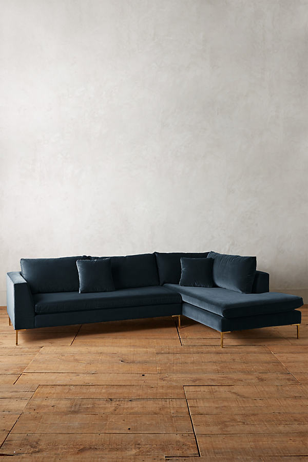 Velvet Edlyn Right Sectional - Blue Green