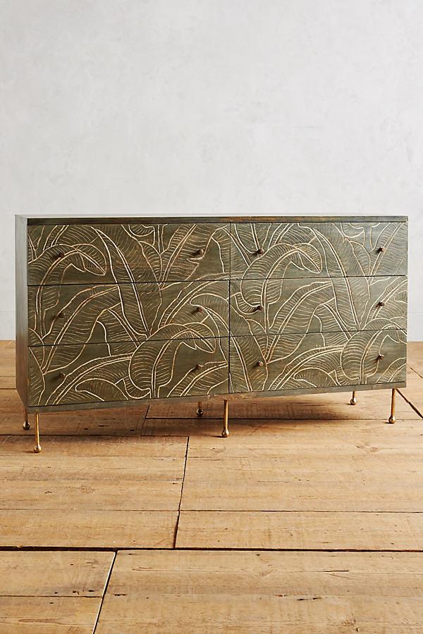 Liri Leaf Six-Drawer Dresser - Grey