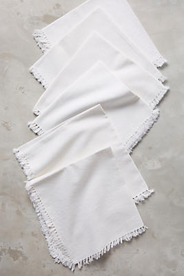 Slide View: 1: Fringed Cotton Napkin Set