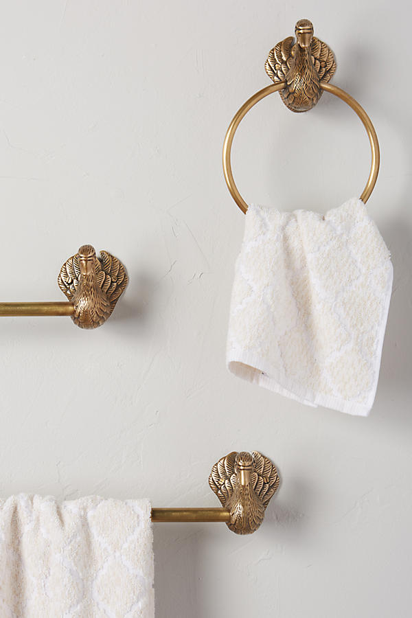 Slide View: 2: Brass Birdbath Towel Ring