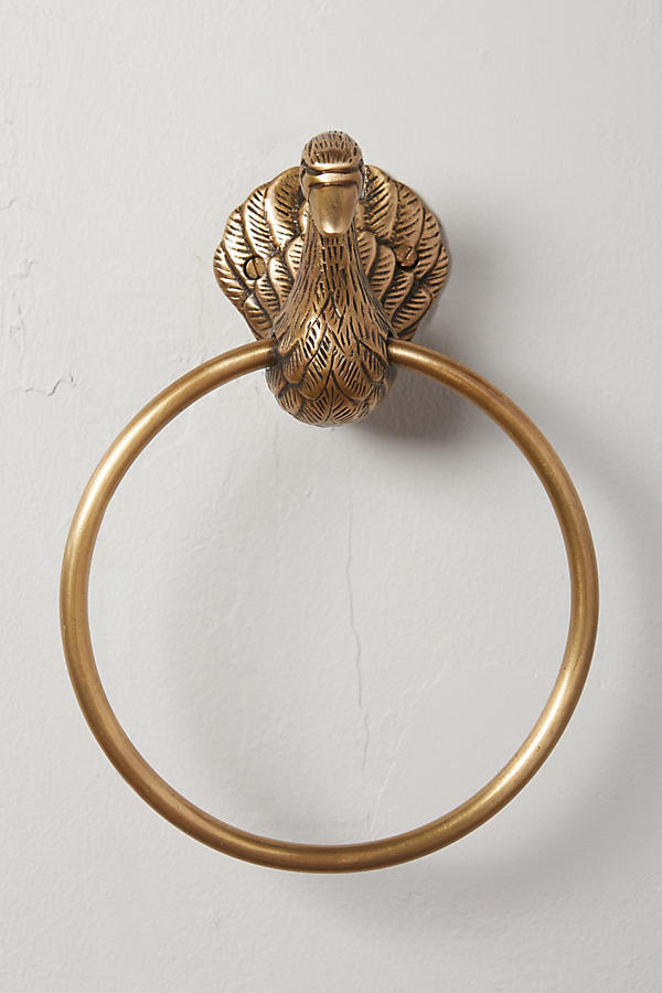 Slide View: 3: Brass Birdbath Towel Ring