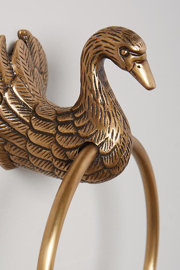 Slide View: 4: Brass Birdbath Towel Ring