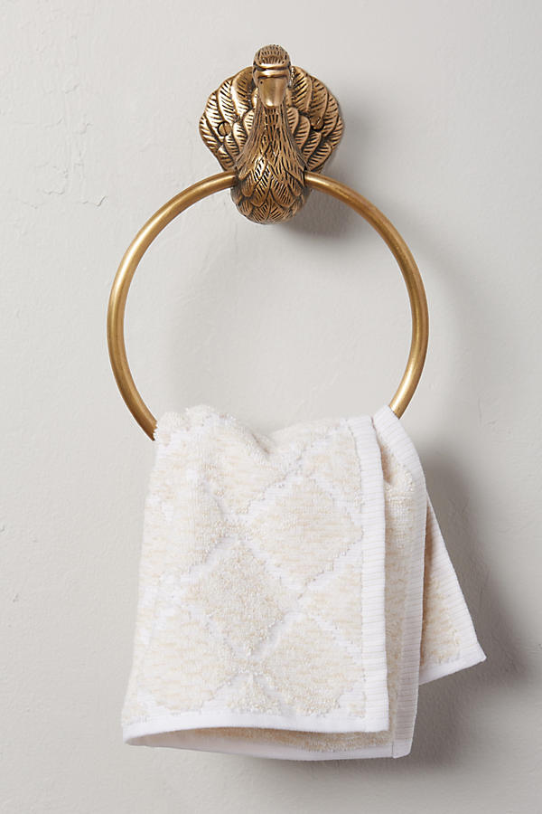 Slide View: 1: Brass Birdbath Towel Ring