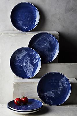 Slide View: 1: Caskata Blue Chart Canape Plate Set