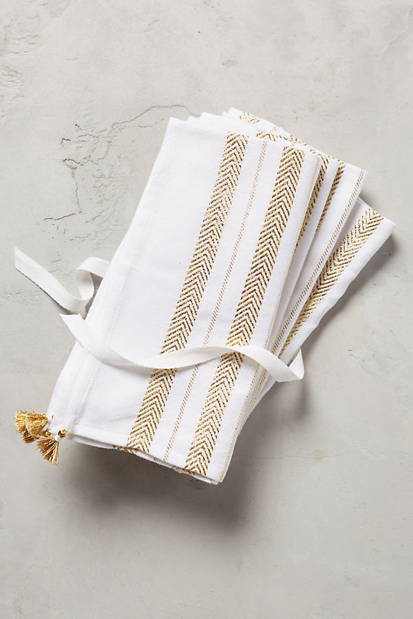 Golden Herringbone Napkin Set - White, Size Napkin