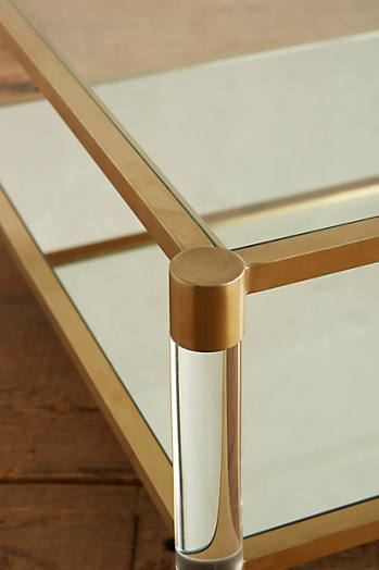 Slide View: 2: Oscarine Lucite Mirrored Coffee Table, Square