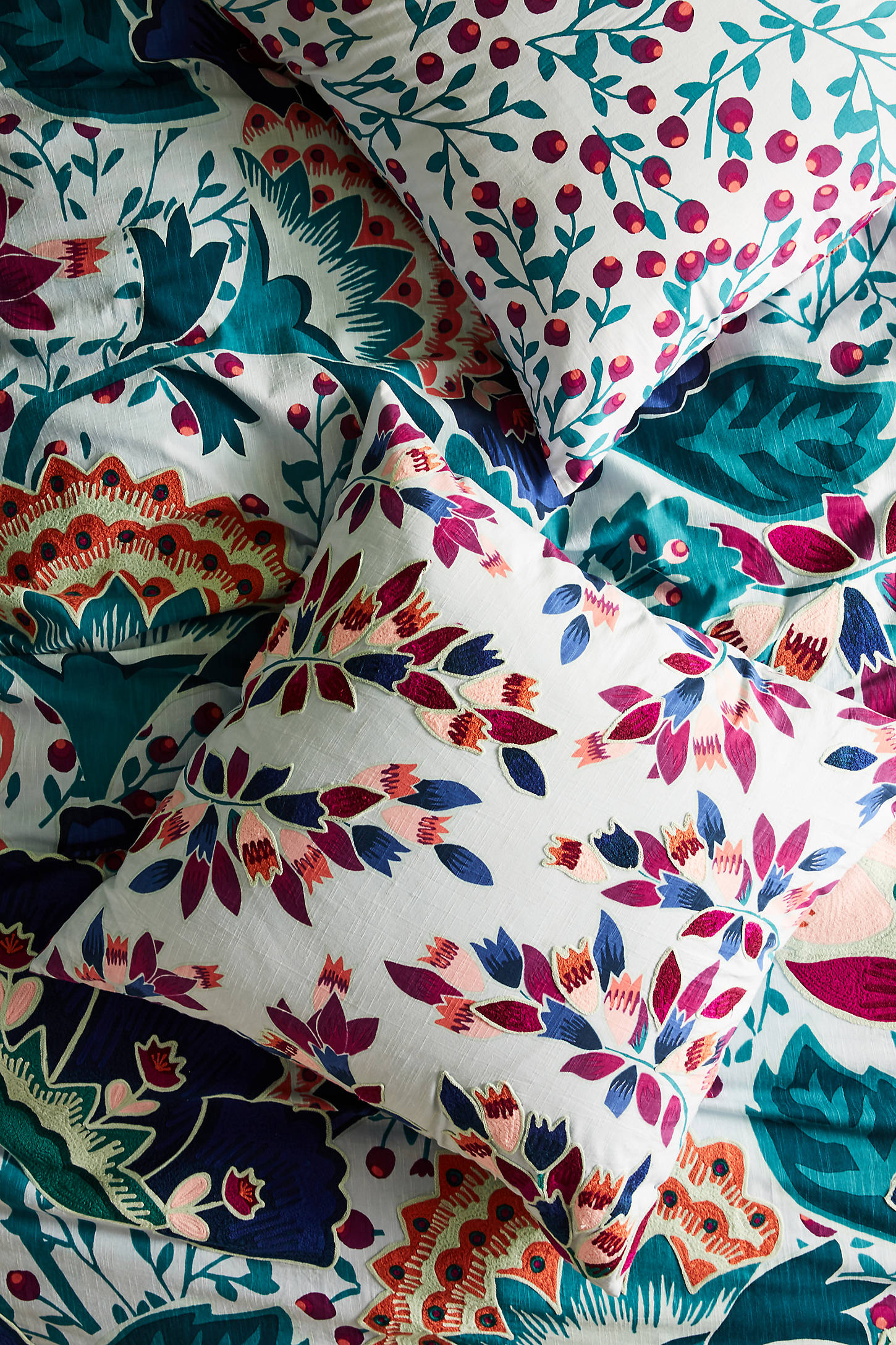 Liberty for Anthropologie Embroidered Feather Bloom Euro Sham