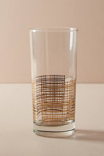 Slide View: 1: Reticulated Gold Highball Glass